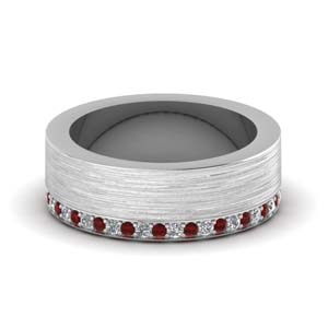 Brushed Texture Band With Ruby