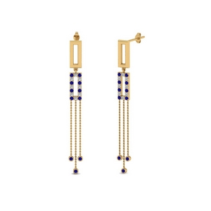 Chain Drop Earring With Sapphire