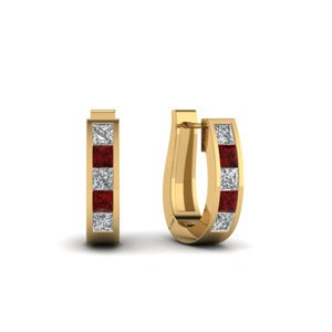 Huggie Diamond & Ruby Hoop Earring