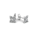 four petals flower round diamond stud earring for women in 14K white gold FDEAR1073ANGLE1 NL WG