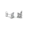 four petals flower round diamond stud earring for women in 14K white gold FDEAR1073ANGLE2 NL WG