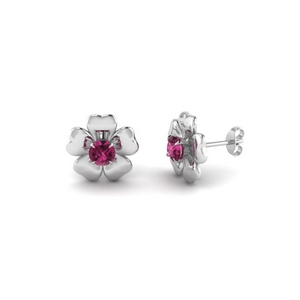 Flower Solitaire Stud Earring