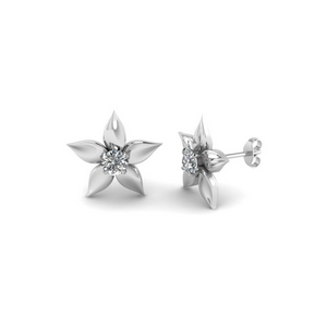 295947dfc Flower Petal Stud Earring Kids jewelry with White Diamond in 14K White Gold