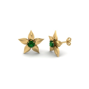 Nature Inspired Stud Emerald Earring