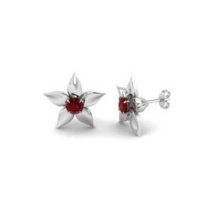 Flower Petal Ruby Stud Earring