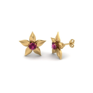 Pink Sapphire Floral Pattern Earring