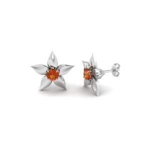 Floral Single Stone Stud Earring