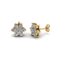 diamond flower stud women gold earring in 14K yellow gold FDEAR1081 NL YG