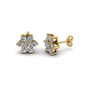 diamond flower stud women earring in 14K yellow gold FDEAR1081 NL YG