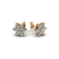 diamond flower stud women gold earring in 14K yellow gold FDEAR1081ANGLE1 NL YG