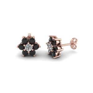 7 Stone Black Diamond Stud Earring