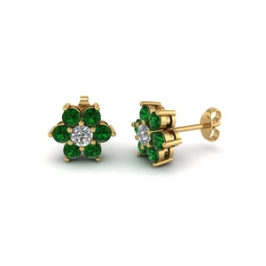 Emerald Flower Stud Women Earring