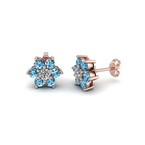 Blue Topaz Flower Stud Earring