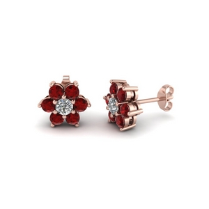 Ruby With Round Diamond Earring