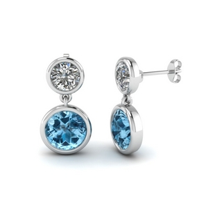 Bezel Set Drop Earring