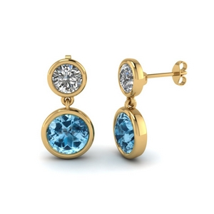 Topaz Bezel Drop Earring