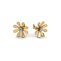 daisy flower round diamond stud earring for women in 14K yellow gold FDEAR1083ANGLE1 NL YG
