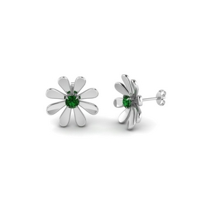 daisy flower emerald stud earring for women in 18K white gold FDEAR1083GEMGR NL WG