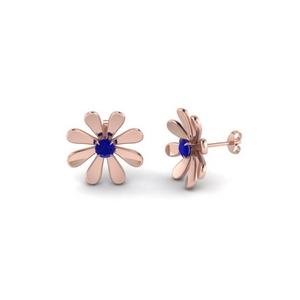 fancy flower sapphire stud earring in FDEAR1083GSABL NL RG