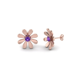 Purple Topaz Flower Stud Earring