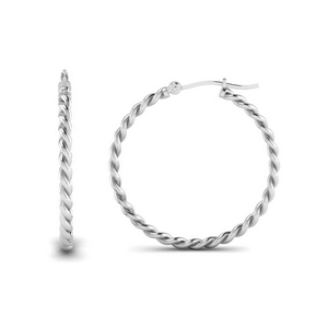 Twisted 14K White Gold Earring