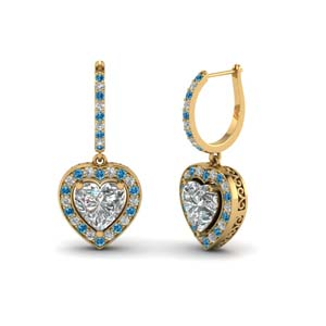 heart halo drop dangle earring with blue topaz in FDEAR1107GICBLTO NL YG