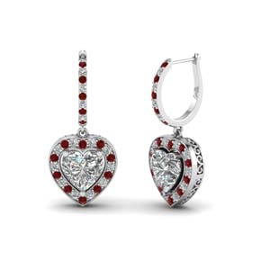 Platinum Heart Halo Drop Earring