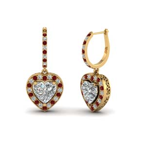 heart halo drop dangle earring with ruby in FDEAR1107GRUDR NL YG