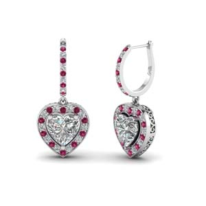 14K White Gold Pink Sapphire Earring