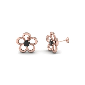 Flower Black Diamond Stud Earring