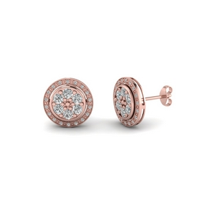 Milgrain Halo Diamond Earring