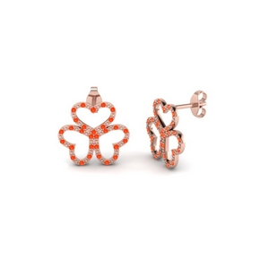 Rose Gold Orange Topaz Earring
