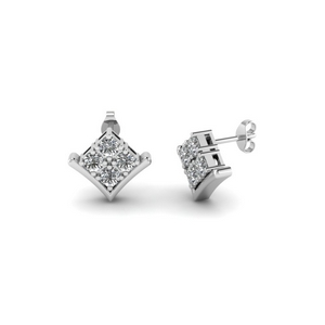 Platinum Round Diamond Earring
