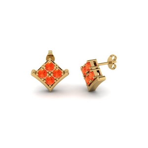 Orange Topaz Four Stone Earring
