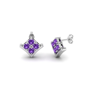 Stud Earring With Purple Topaz