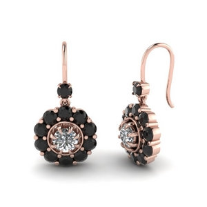 Floral Black Diamond Earrings