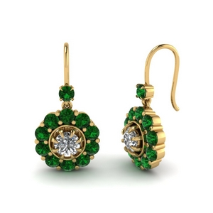 Floral Emerald Dangle Earrings