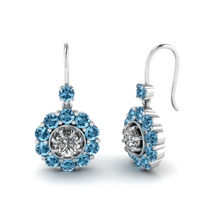 Dangle Earring With Blue Topaz
