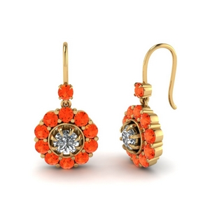 Orange Topaz Dangle Earrings