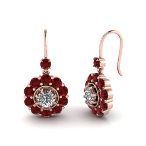 Floral Dangle Ruby Earrings