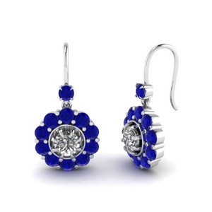 Sapphire Floral Dangle Earrings