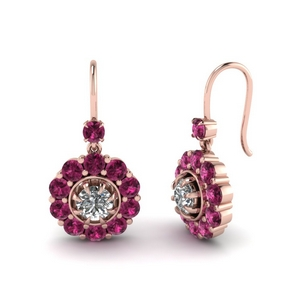 Floral Pink Sapphire Earrings