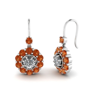 Orange Sapphire Floral Earrings
