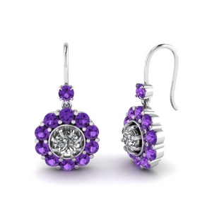 Platinum Purple Topaz Earrings
