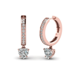 heart drop hoop diamond earring in 14K rose gold FDEAR1161HT NL RG