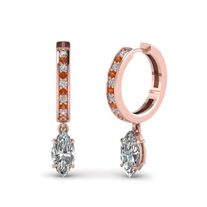 Hoop Earring With Marquise Diamond