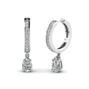 Pear Shaped Diamond Hoop Earring