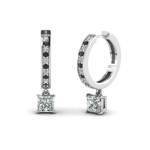 Black Diamond Platinum Hoop Earring