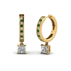 Emerald Hoop Diamond Drop Earring