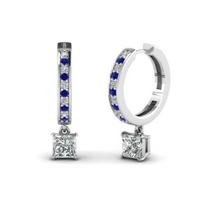 princess cut drop hoop diamond earring with sapphire in FDEAR1161PRGSABL NL WG